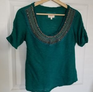 Anthropologie Tops - Anthropologie : Deletta 'Jewelscape' teal tee